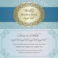 Baroque wedding invitation blue and beige N8