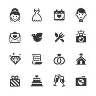 Set of black and white wedding icons N2