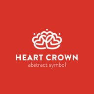 Abstract ornate heart crown symbol logo N2
