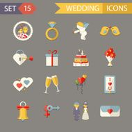 Flat Wedding Symbols Bride Groom Marriage Accessories Icons Set Trendy