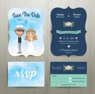 Bohemian cartoon couple on the beach wedding card template set N2