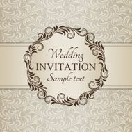 Baroque wedding invitation brown and beige N2
