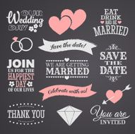 Collection of chalkboard wedding design icons