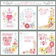 Vintage card set with floral decor Mothers day N2