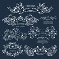 Set of Vintage Victorian ornaments Wedding design