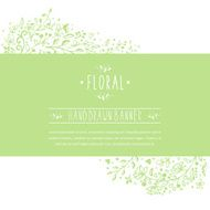 Green banner with flower patterns and ornaments N2