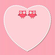 Pink heart and owls card N2