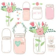 Hand Draw Wedding flower Mason Jar- Illustration N2