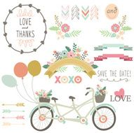 Wedding Flora Vintage Bicycles Elements- illustration