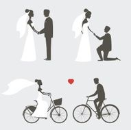 Set of bride and groom poses for wedding invitations N2