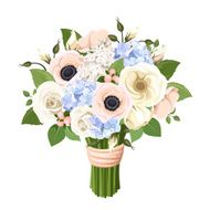 Bouquet of roses lisianthus anemones and hydrangea flowers Vector illustration