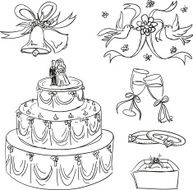 Wedding items collection in sketch style N2