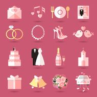 Set of wedding icons in flat style N2