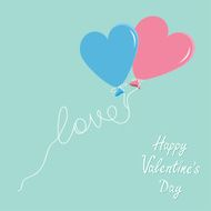 Blue and pink balloonsheart Flat design Valentines day N2