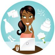 African American woman with laptop wedding planning