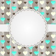Brown card template with many hearts N2