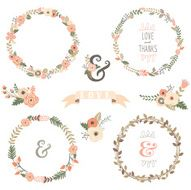 Vintage Flowers Wreath - illustration