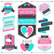 Wedding invitation retro set of design elements