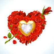 Red Roses in the shape of heart with arrow N2