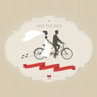 Vintage wedding invitation with tandem bicycle N2