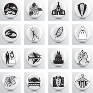 Round Icon Set Wedding And Marriage N2