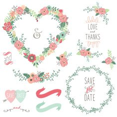 Vintage Heart Shape Wreath Elements- illustration