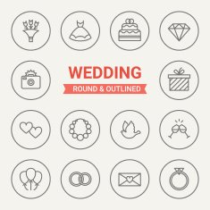 Set of round and outlined wedding icons N2