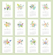 Calendar 2015 with flowers and birds Isolated Vector N2