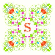 Floral monogram with letter s on white Green swirls and