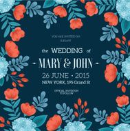 Fun Flowers wedding invitation Vector illustration N2