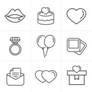 Line Icons Style Wedding Set Vector Design