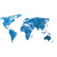 World map blue polygons