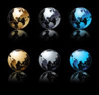 Set of silver gold and blue globe in black background