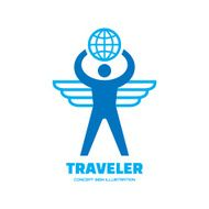 Traveler human with wings and globe vector logo illustration N2