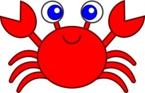 drawing of a red crab with blue eyes on a white background