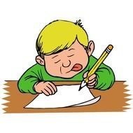 funny boy with a pencil as a picture for clipart