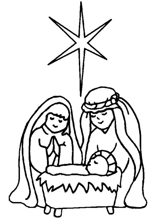 Nativity Picture Of Child Jesus In The Manger Coloring Page Download