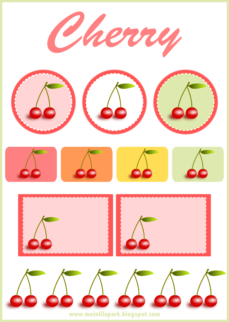 Cherry Scrapbooking Embellishment And Printable Tags Free Image