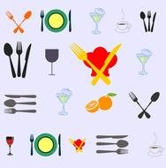 Modern Dinner Table Setting Vectors
