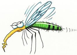 cartoon mosquito with yellow nose