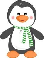 penguin in a green scarf as a picture for clipart
