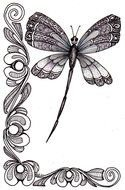 Black and white drawing of the butterfly anf flowers clipart