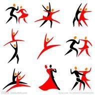 red-black silhouettes of tango dancers
