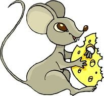 cartoon gray mouse with cheese