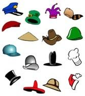 clip art with various hats