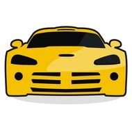 painted yellow sports car with black glasses
