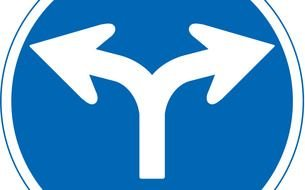 road sign with white arrows as a picture for clipart