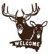 Buck And Doe Welcome Sign Metal Wall Art Brown