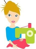 seamstress woman as a picture for clipart