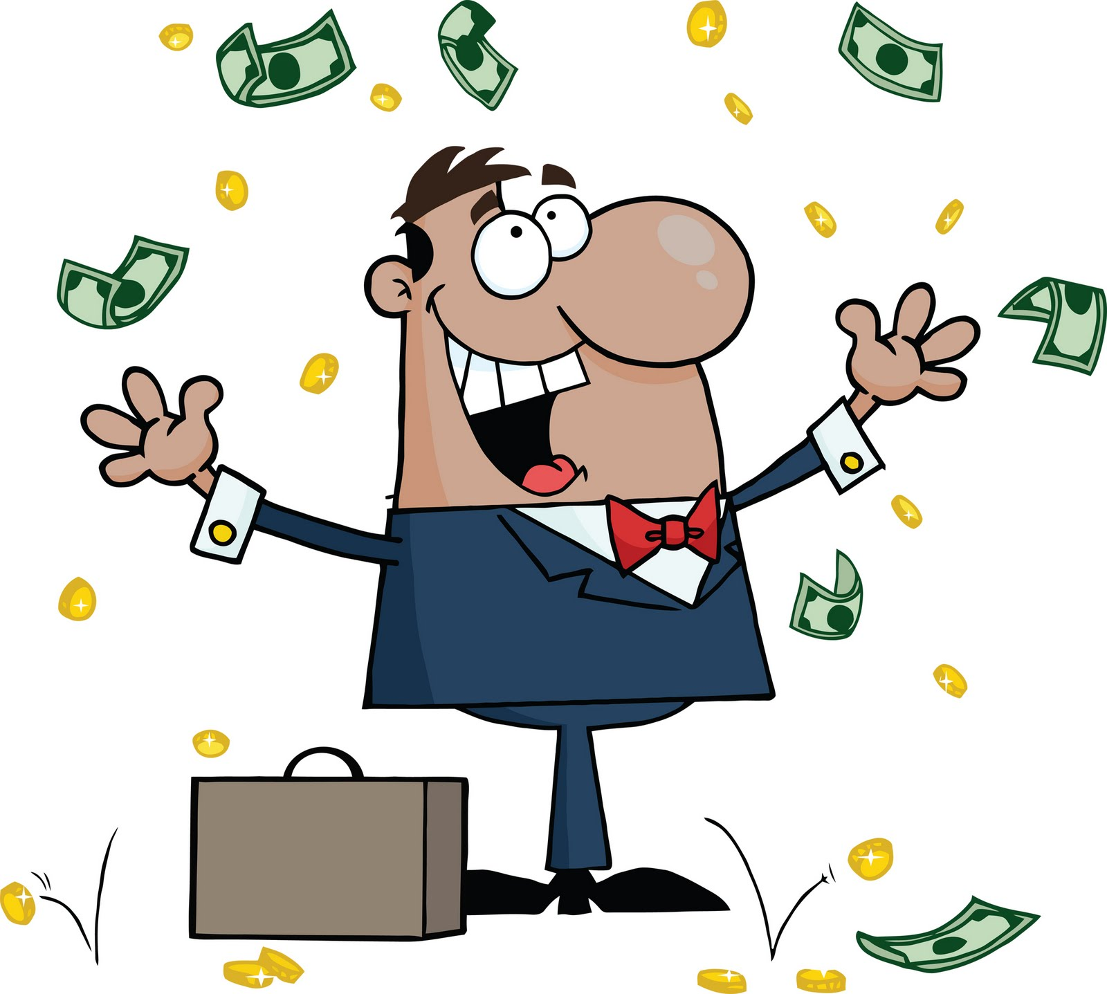 Cheerful rich man in graphic representation free image